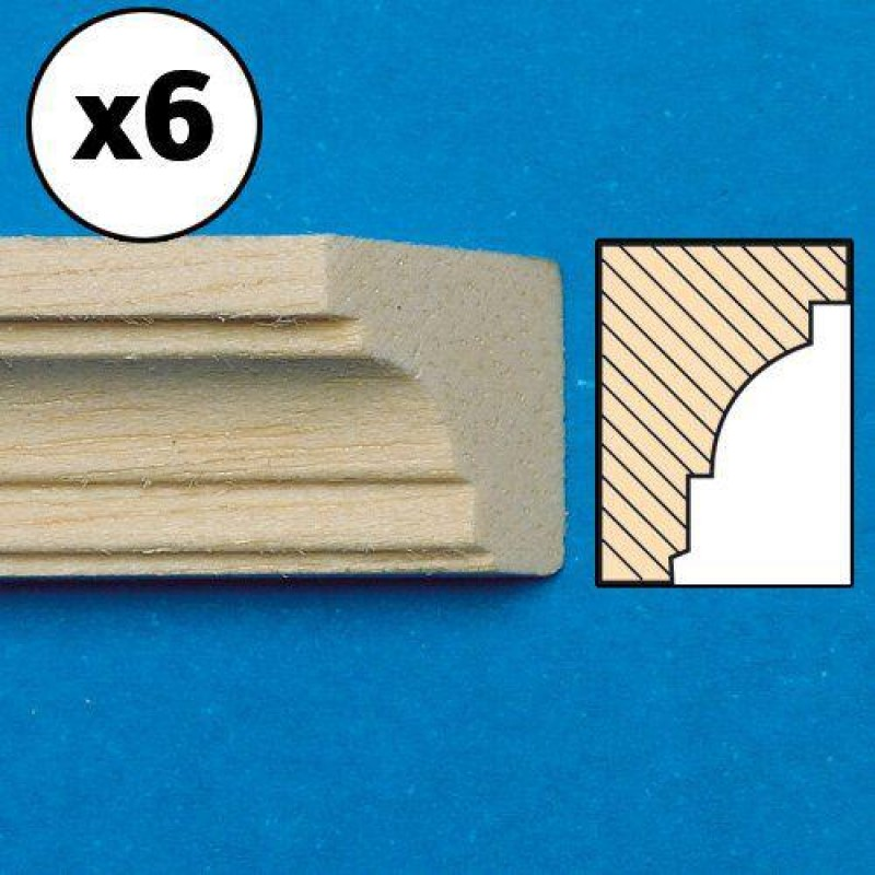 Unvarnished Lightwood Cornice, 6 pieces 300 x 13 x 10mm
