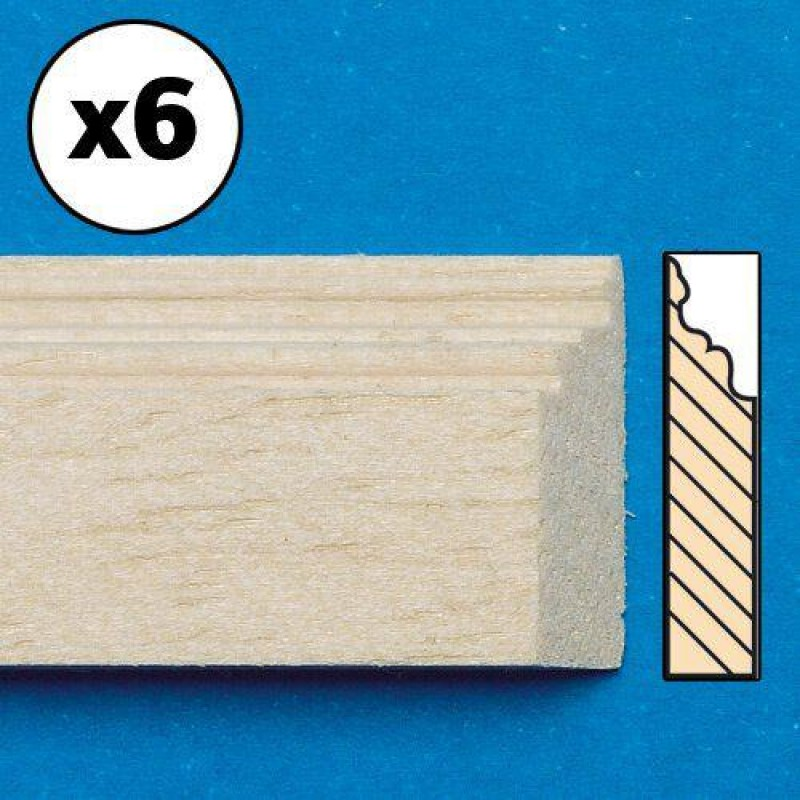 Unvarnished Lightwood Skirting Board, mitred, 6 pieces 16 x 305 x 4mm