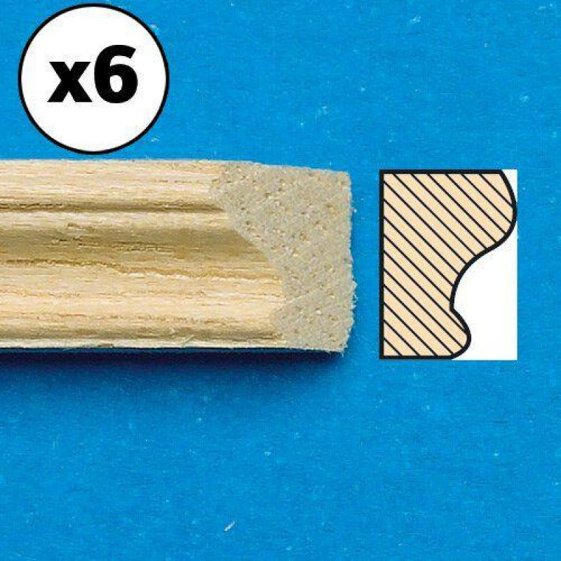 Unvarnished Lightwood Picture Rail, mitred, 6 pieces 300 x 5 x 4mm