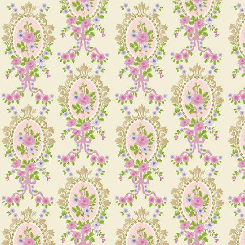 The Dolls House Emporium Cream Victorian Cameo Wallpaper