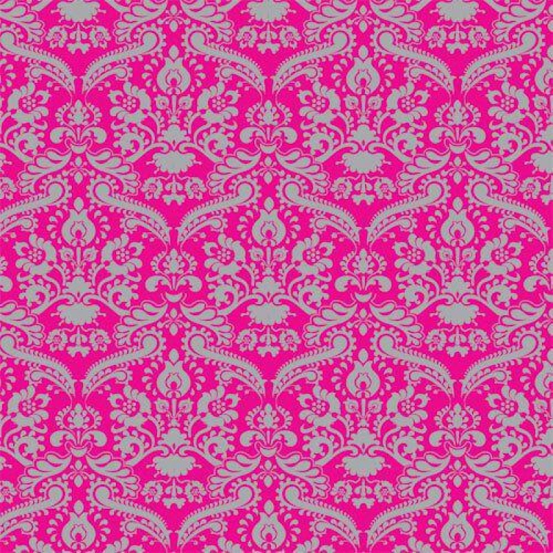 Bright Pink & Silver Damask Wallpaper 430 x 600mm