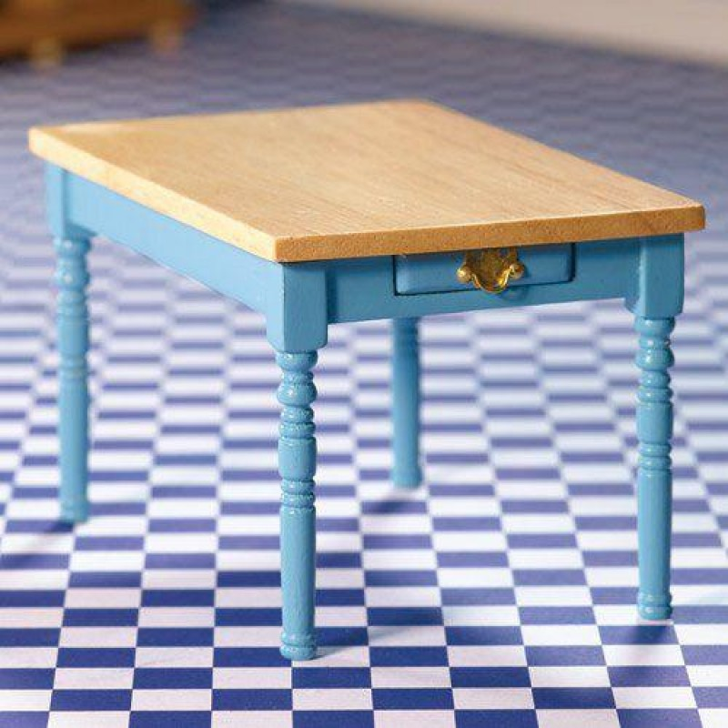Blue Kitchen Table with Pine Top (L)