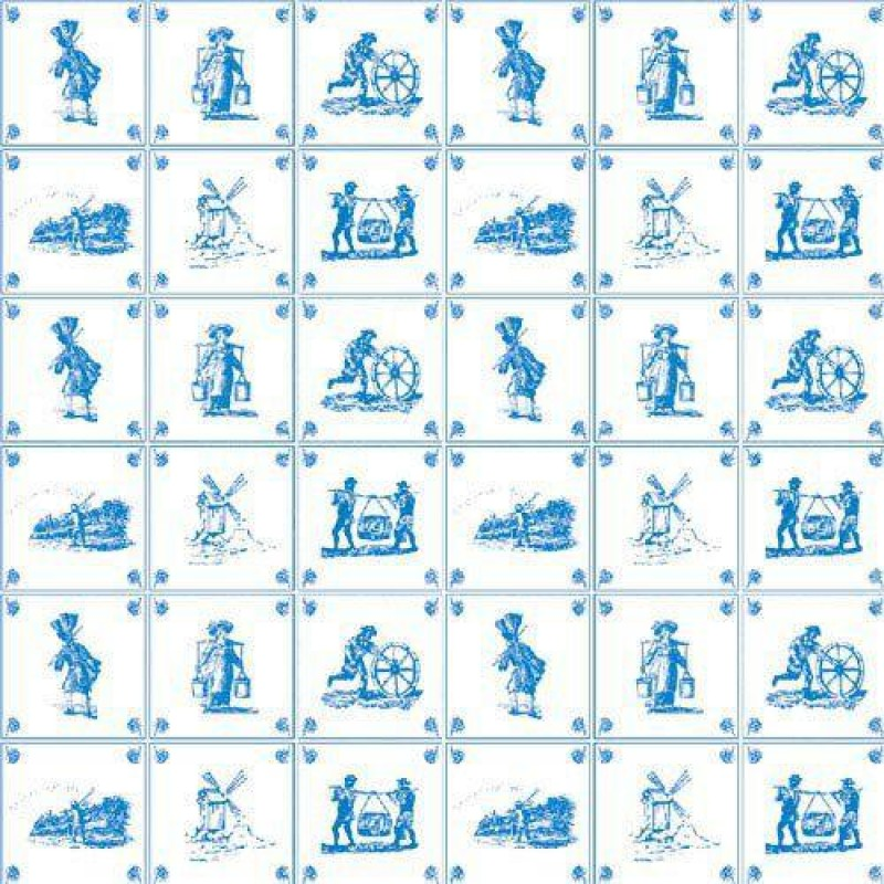 Blue Delft Tile Wallpaper 430 x 600mm