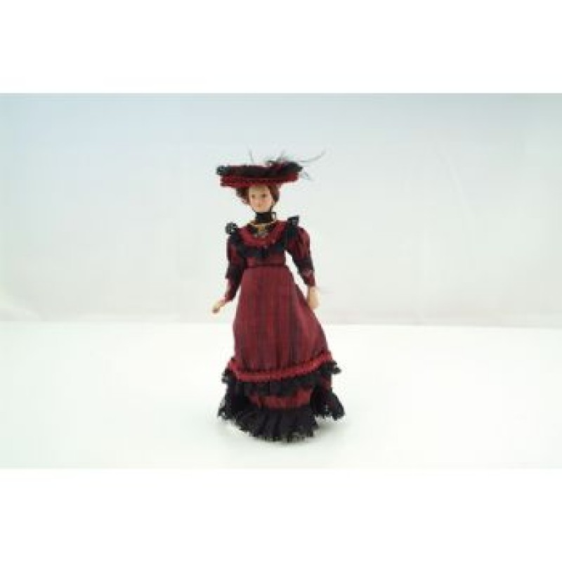 Porcelain Victorian Lady in Burgundy