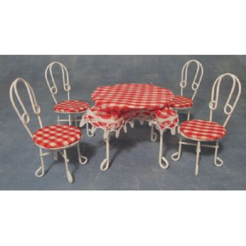 White Wire Table With Table Cloth & Four Chairs