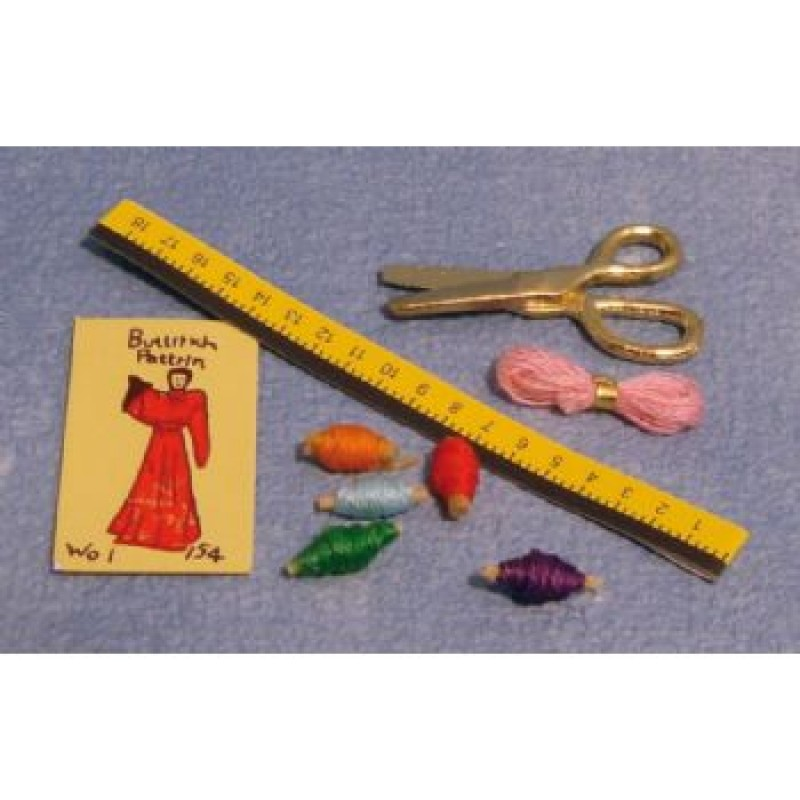 Sewing Kit, including rule, pattern, threads and scissors