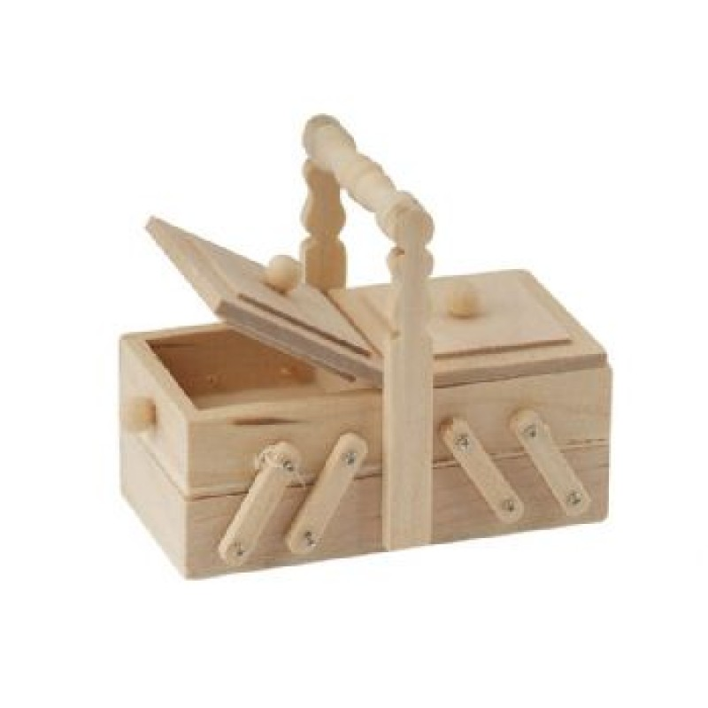 Wooden Sewing Box with lifting lids
