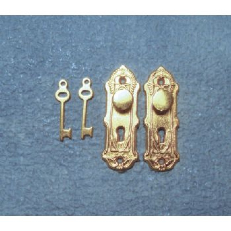 Traditional Brass Door Knob, Plate & Key Set, 2 pack