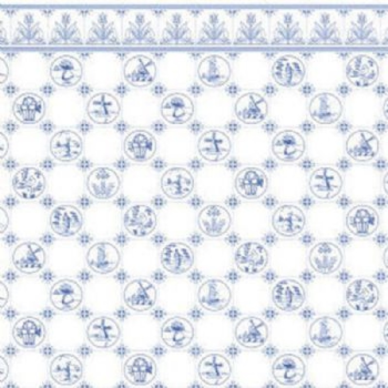 Dutch Tile Blue Wallpaper