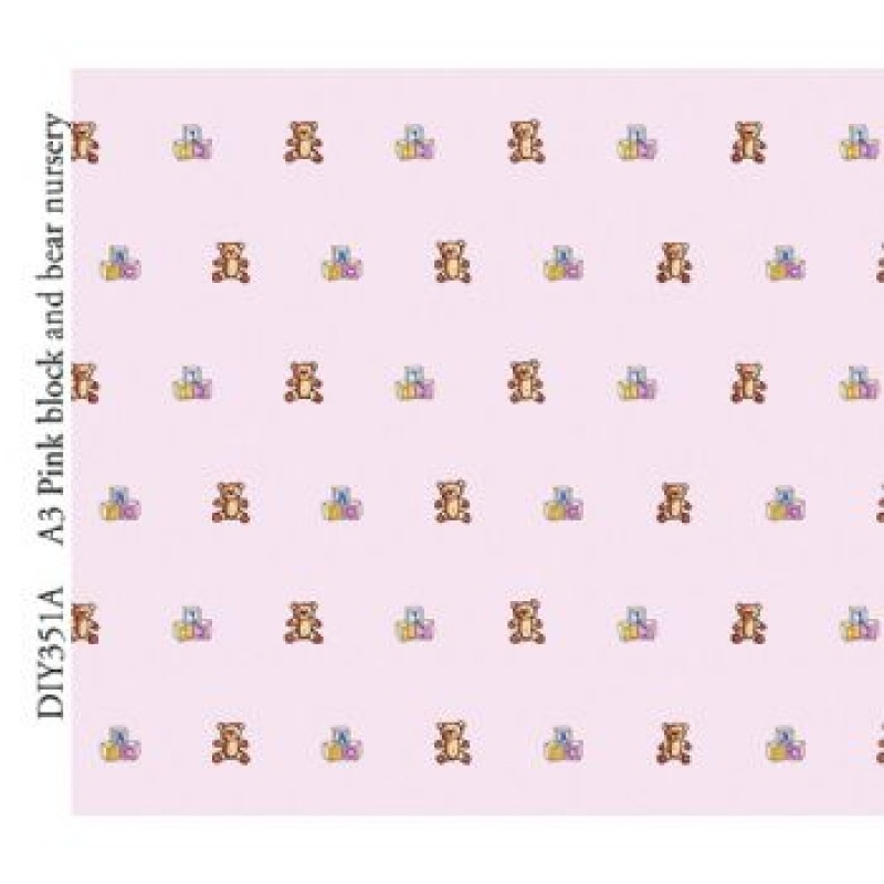 A3 Block & Bear Nursery Pink Paper