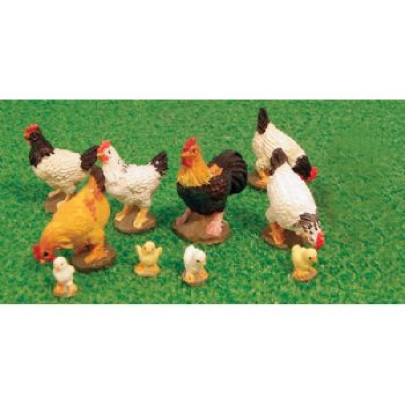 Assorted Chickens, 13 pieces