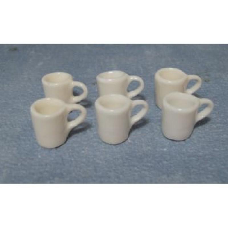 White Modern Mugs, 6 pieces