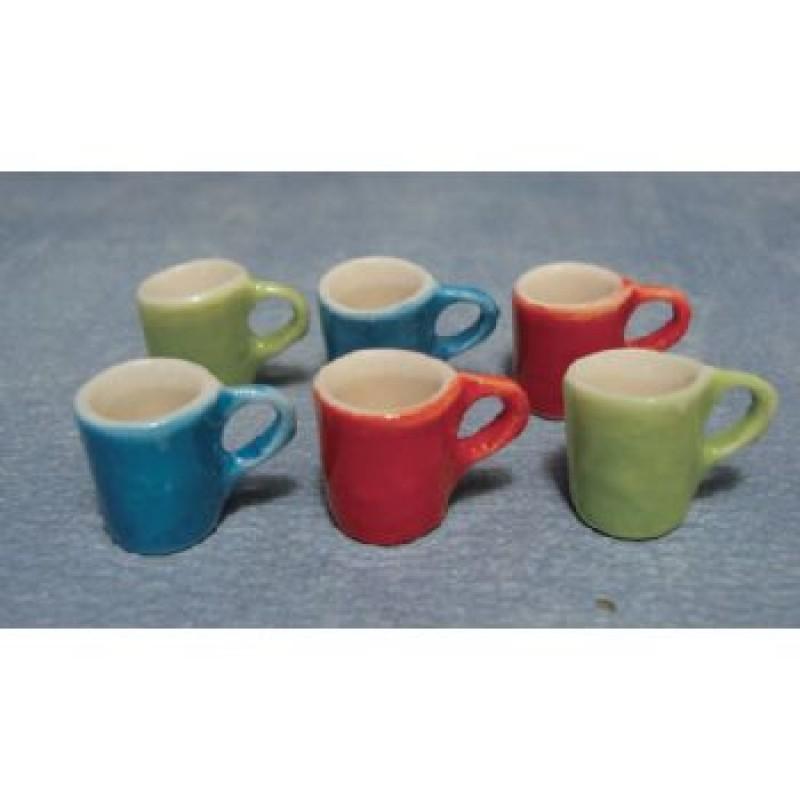 Modern Coloured Mugs, 6 pieces