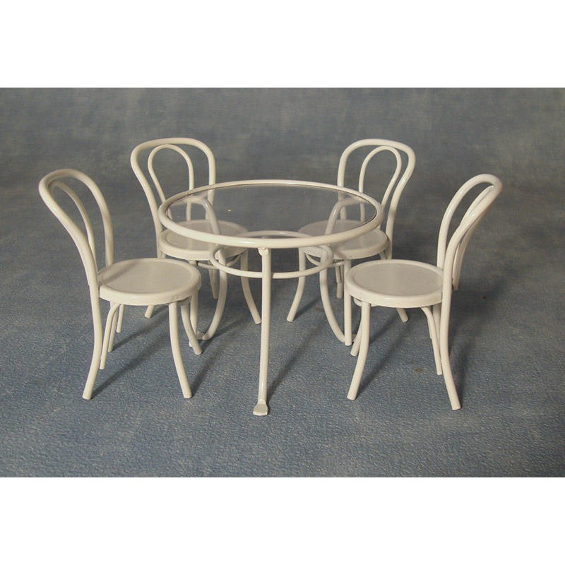 White Metal Table and Chairs