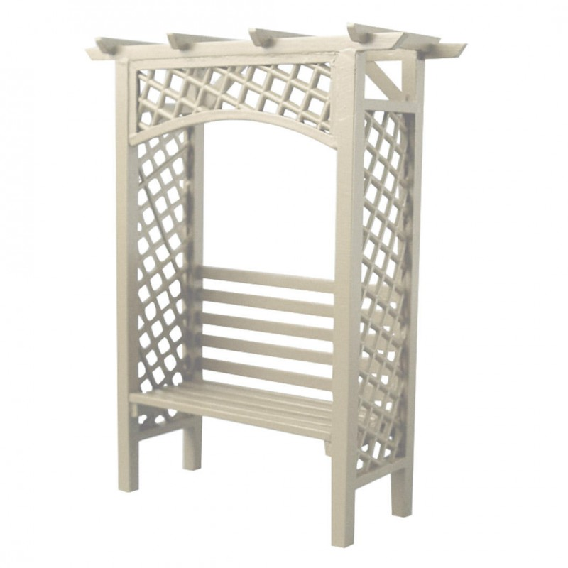 White Wooden Arbour Bench