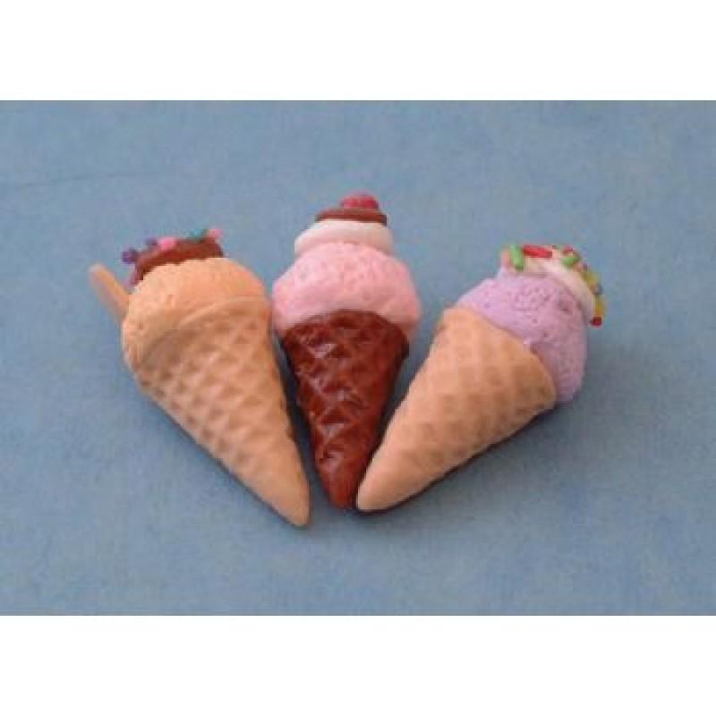 Assorted Ice Cream Cones, 3 pieces