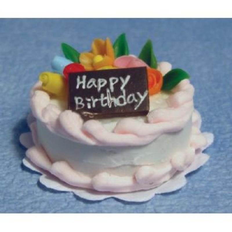 Pink Icing Birthday Cake
