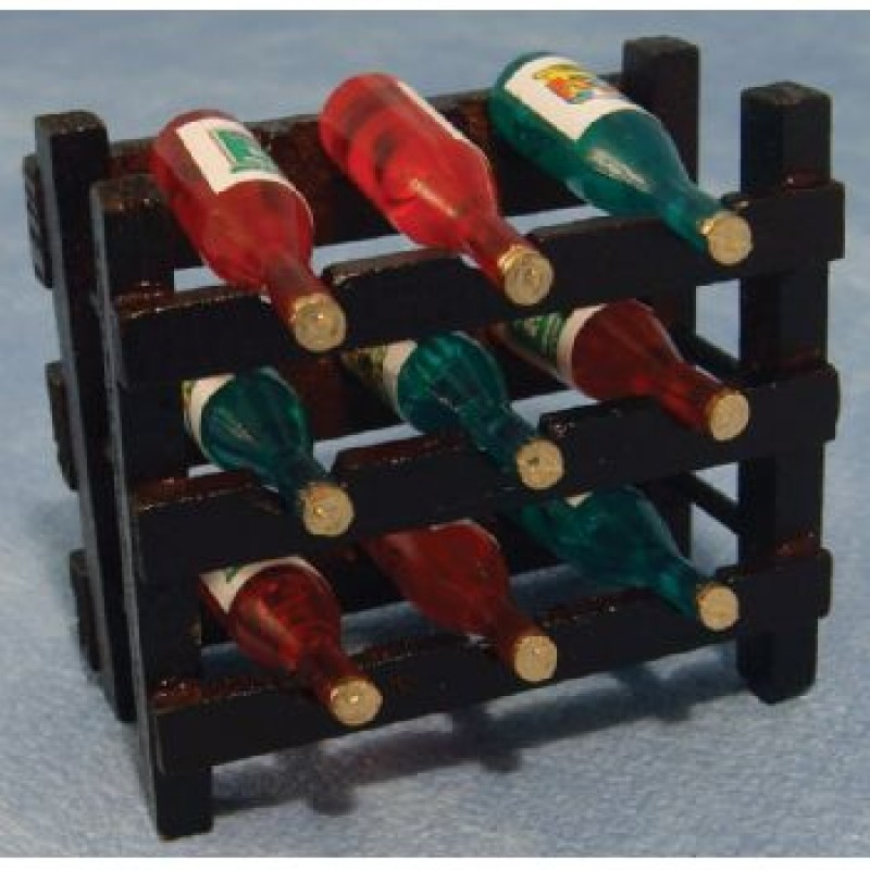 Wood Wine Rack and 9 Bottles