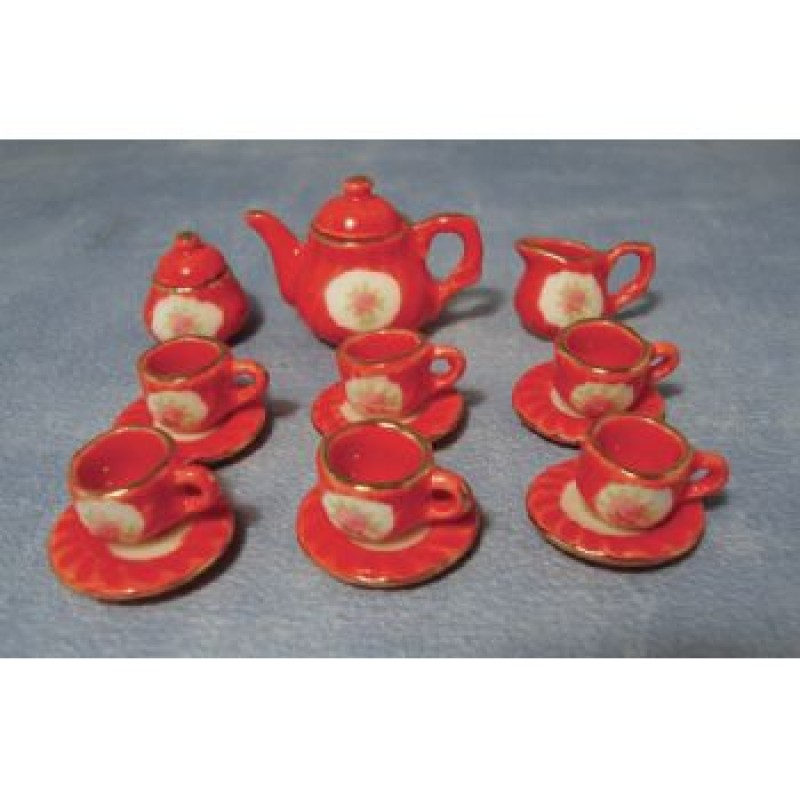 15 piece Red Tea Set
