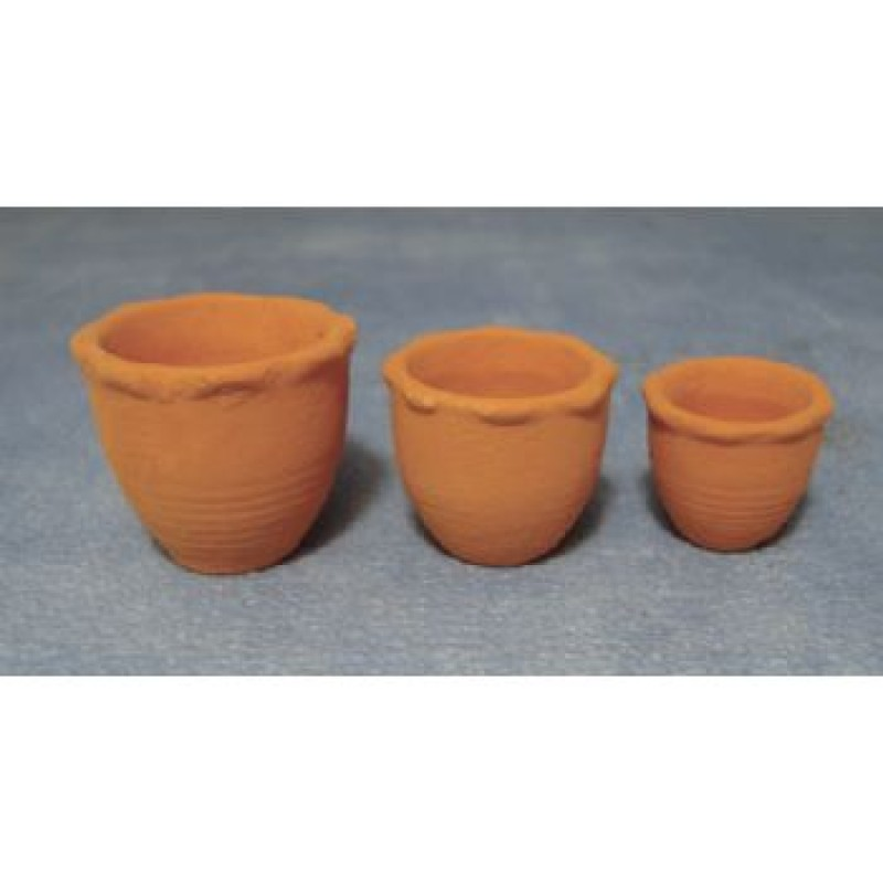 Terracotta Piecrust Pots, 3 pack
