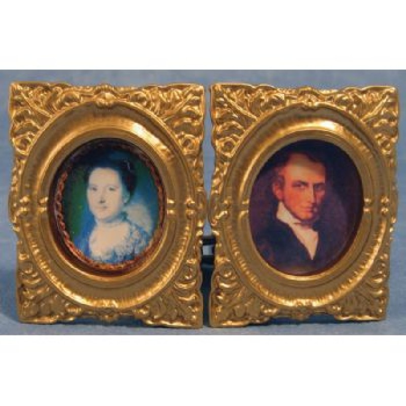 Oval Framed Pictures, 2 pieces
