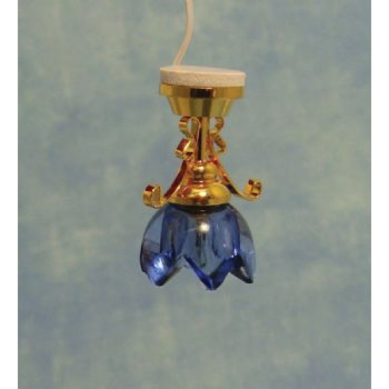 Lilly Ceiling Light with Blue Shade