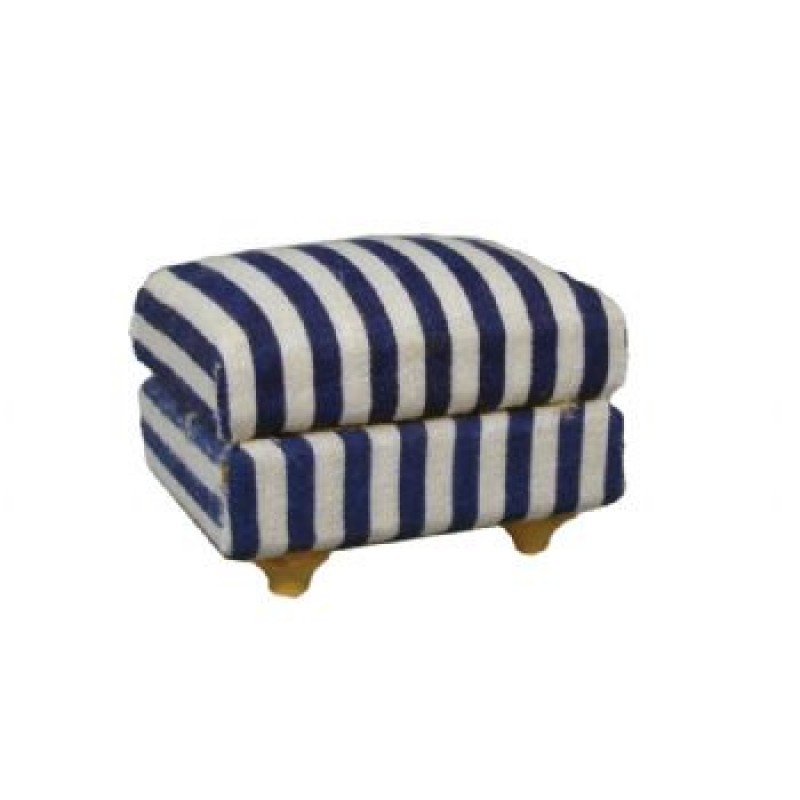 Blue Stripe Footstool