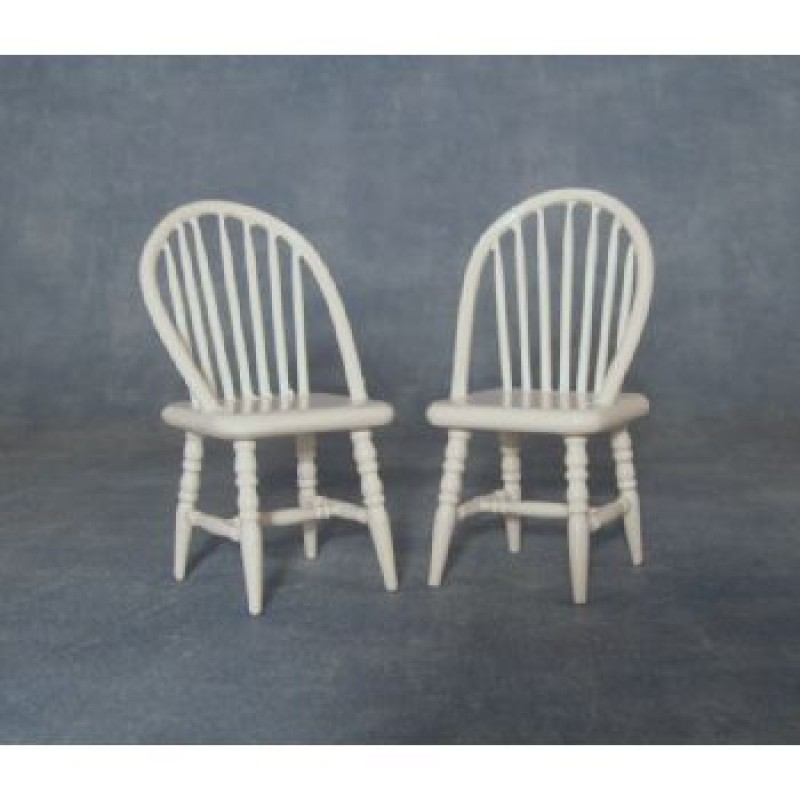 White Spindleback Chairs, 2 pieces