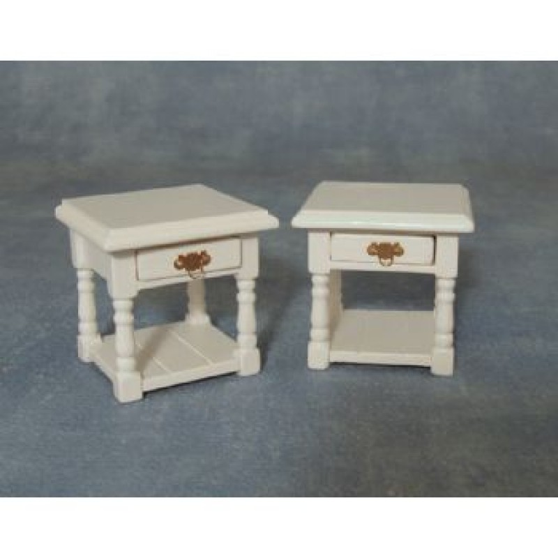 Bedside Table White, 2 pack