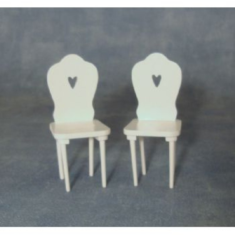 White Heart Chairs, 2 pack