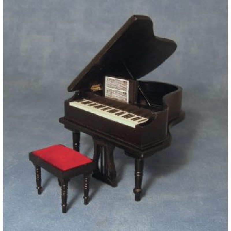 Black Grand Piano and Stool