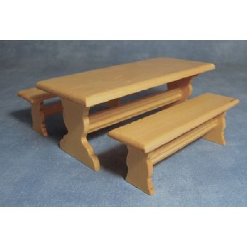Pine Long Table and 2 Benches