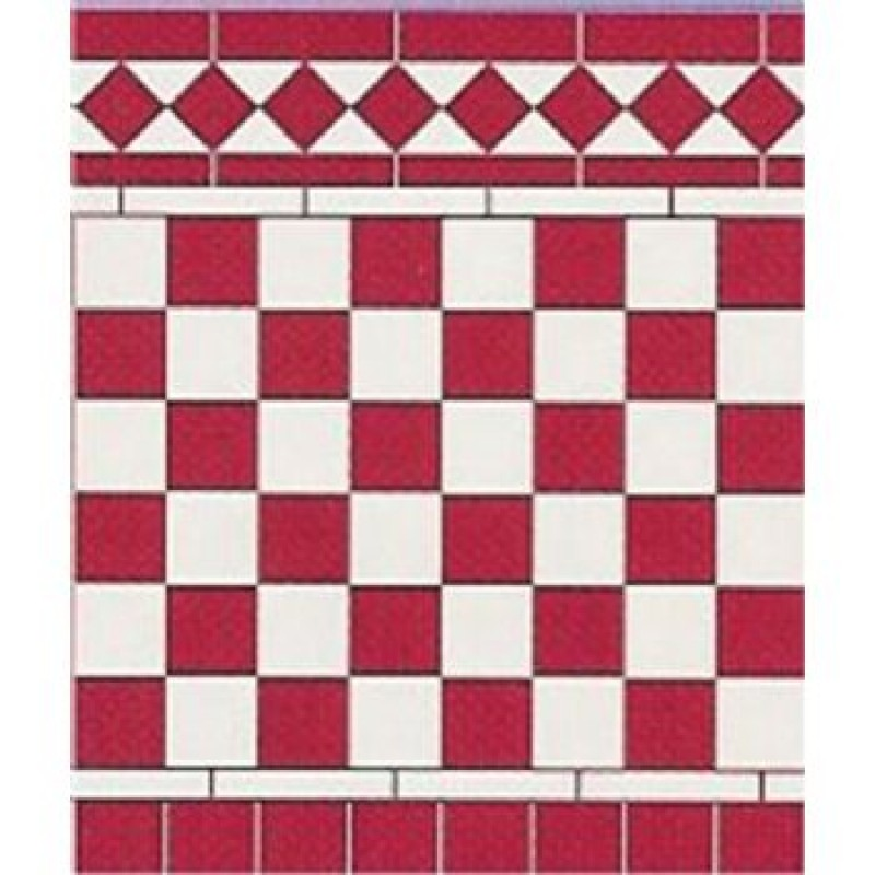 Wall Tiles Card Red & White