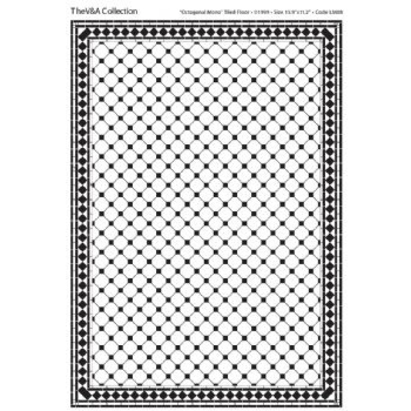 A3 Black & White Card Floor Tiles Octagonal