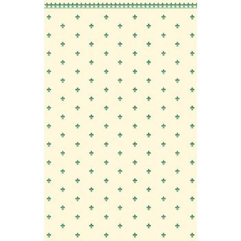 A3 Fine Qual Fleur De Lys Green & Ivory