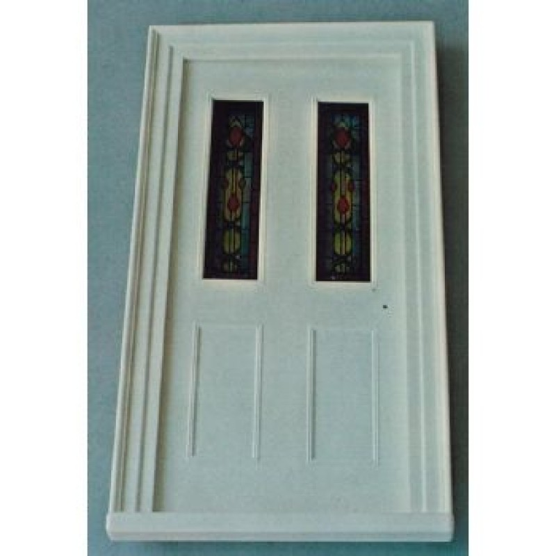 Victorian Front Door with Stained Glass Panels