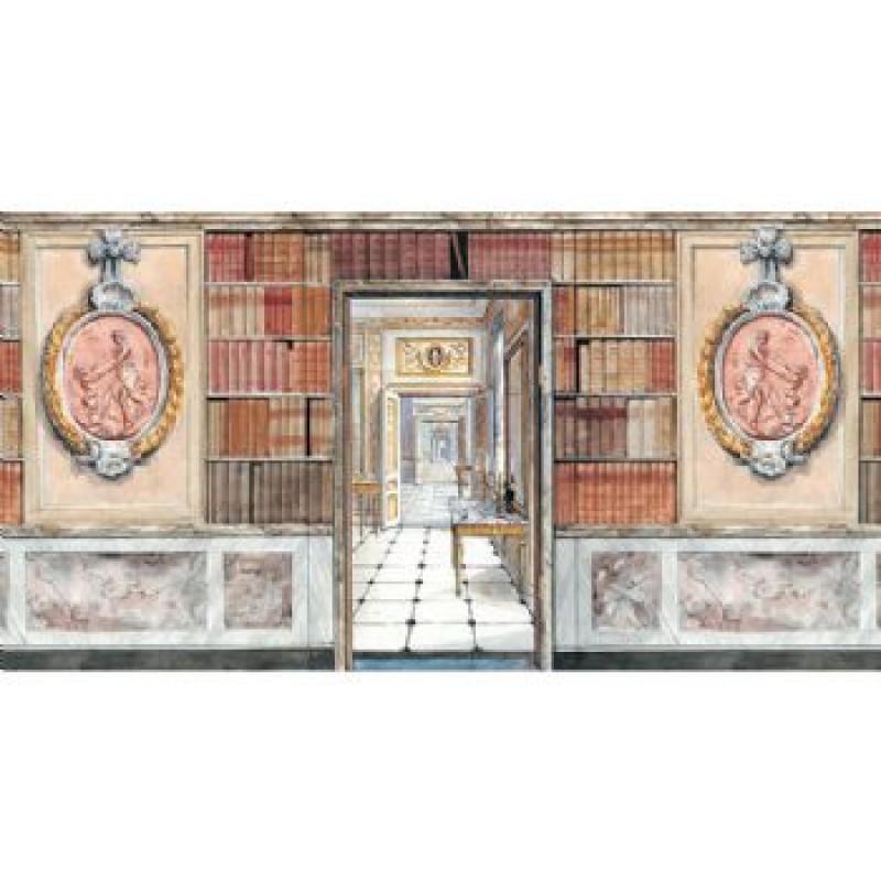 3D Library Paper Door, Books & Plaque