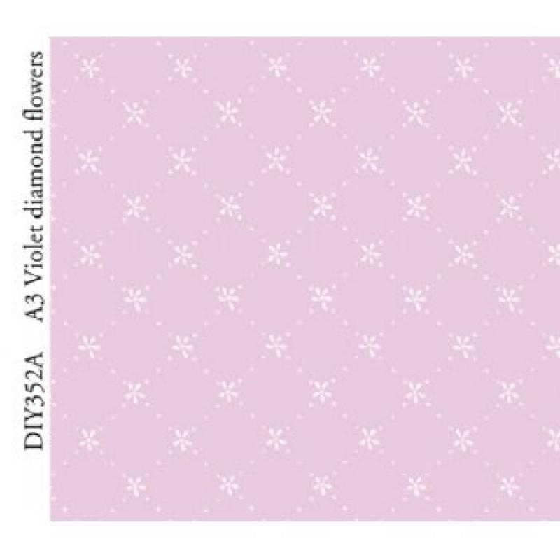 A3 Violet Diamond Flowers Paper