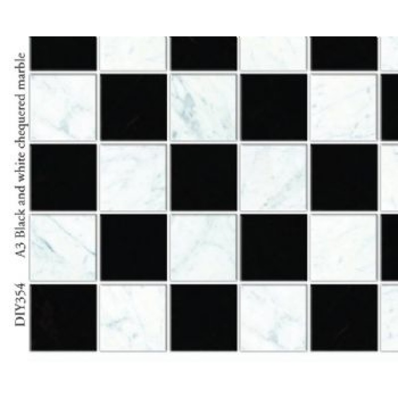 A3 Black & White Chequered Marble Card