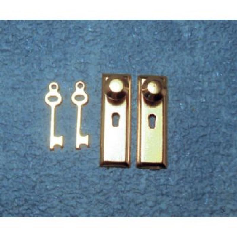 Brass Knob, Lock & Key Set, 2 pack
