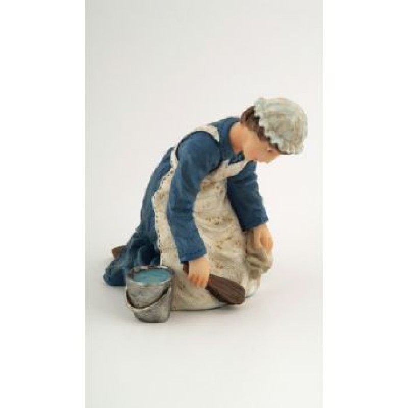 Maid Kneeling with Brush & Pail