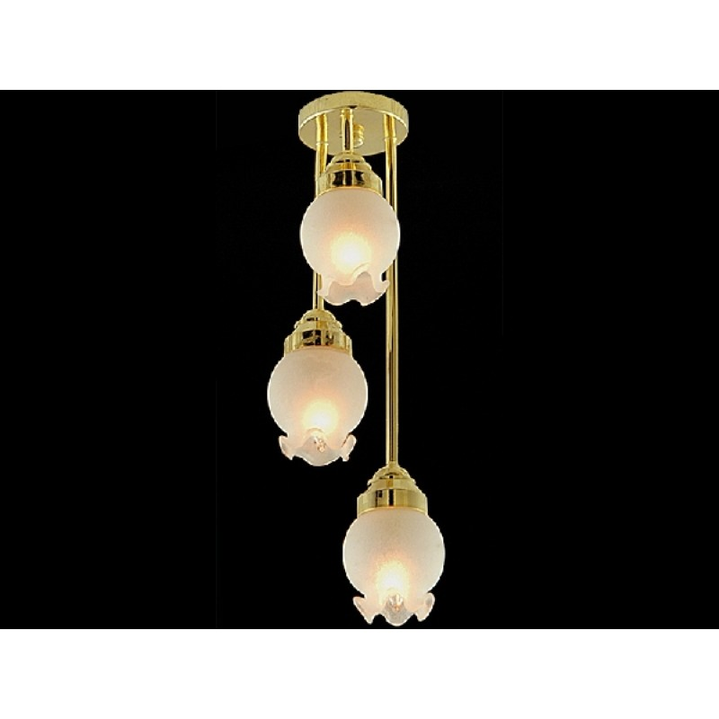 Three Drop Frosted Floral Shade Ceiling Light