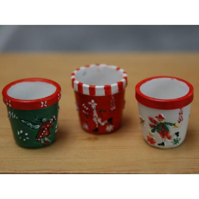 Snowmen Round Pots, Set of 3