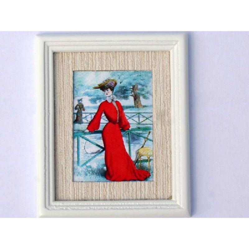 Lady in Red - White Frame
