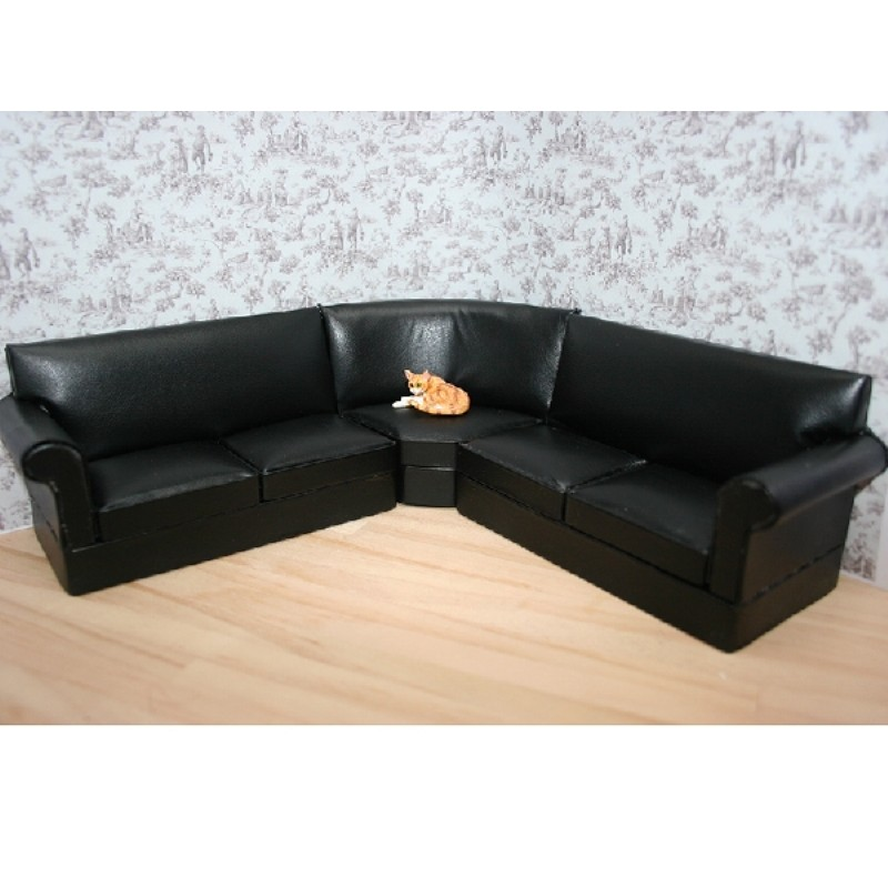 3PC Black Corner Couch Suite