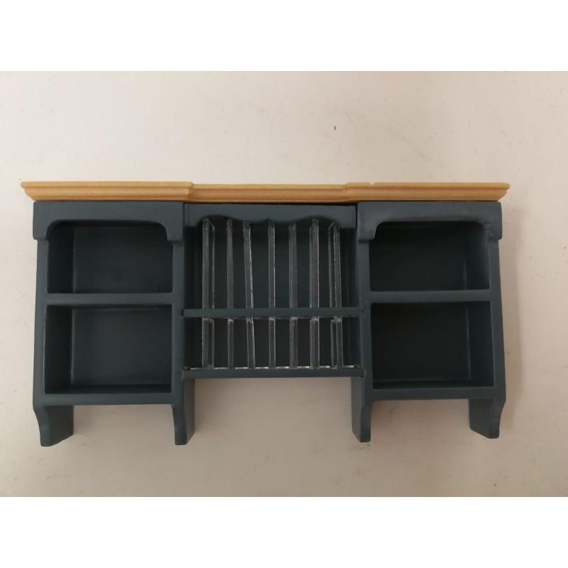 Wall Shelf with Plate Rack Blue/Pine
