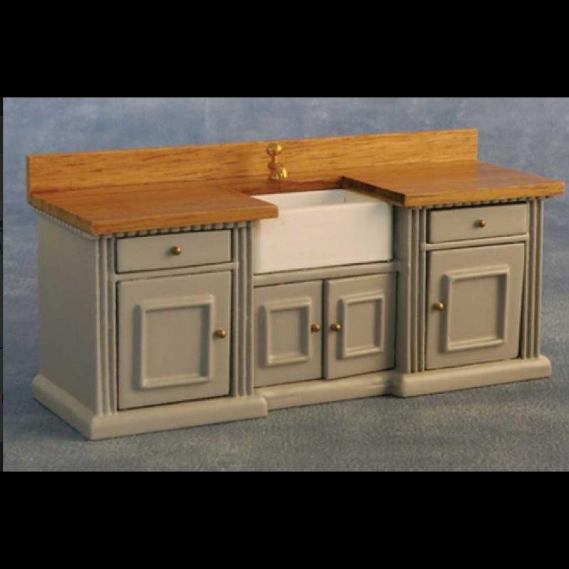 'Smallbone' Sink Unit Grey/Pine