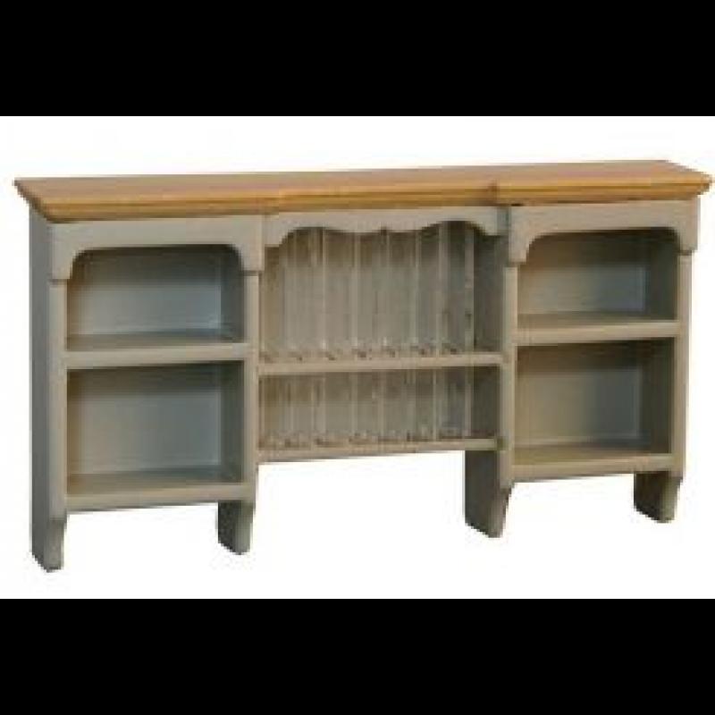Wall Shelf with Plate Rack Grey/Pine