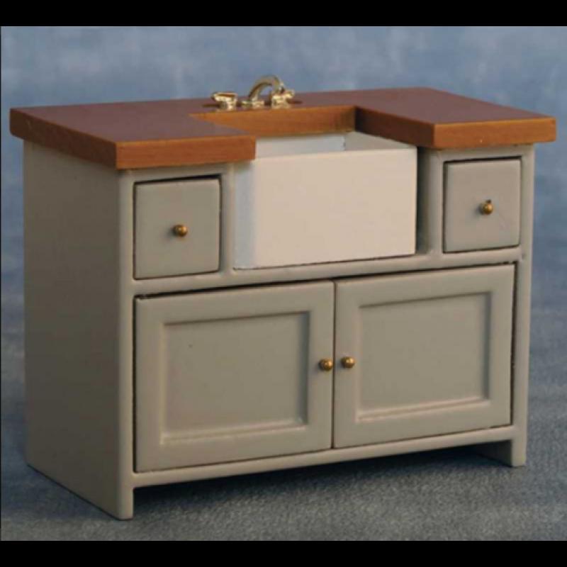 Grey/Pine Shaker-style Sink Unit