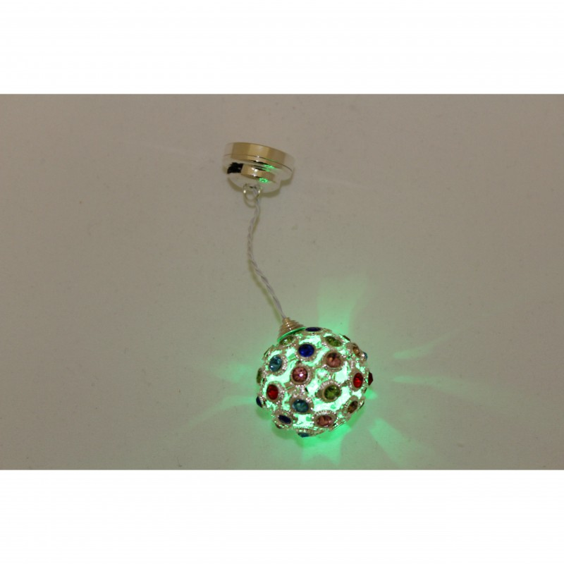 Disco Colour Changing LED Hanging Ceiling Lamp with coloured globe. Battery Powered.